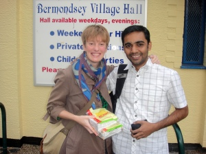 Sundeep and I outside Bermondsey Village Hall
